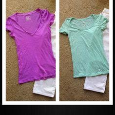 American Eagle lot • purple AE top / size medium & and mint AE top size XS American Eagle Outfitters Tops Tees - Short Sleeve