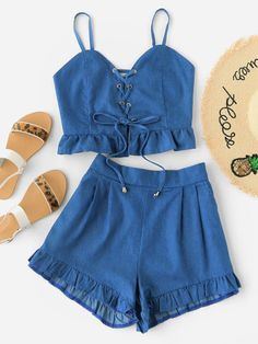 Grommet Lace Up Frill Hem Cami Top With Shorts