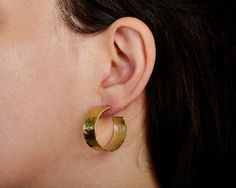 Small thick hoops hammered wide hoops brass by ColorLatinoJewelry