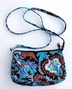 c9cf593102 Vera Bradley Crossbody Bag Java Blue Retired Pattern Purse Small Compact  Brown
