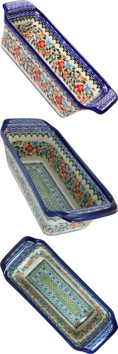 Polish Pottery Ceramika Boleslawiec, 1207/238, Bread Meatloaf Baker, 12 3/4 by 5 3/8 Inches - 6 Cups, Royal Blue Patterns with Red Cornflower and Blue Butterflies Motif, This Unikat Signature Polish Pottery is a Limited production from a small factory near Boleslawiec, Poland. The Model 1207 Pattern 238 created using Boleslawiec White Clay molded and painted by hand a..., #Kitchen, #Loaf Pans, $88.65