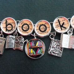 Bookish Charm Bracelet Literary Book Themed Jewelry