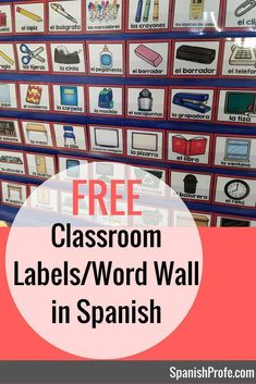 Awesome!! ---- Free classroom / school object labels and word wall in Spanish. Gratis decoraciones y pared de palabras de Objetos de la escuela o salon en espanol.