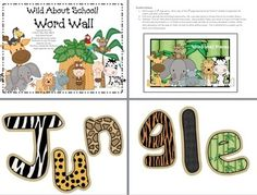 "This purchase includes: Classroom Word Wall with a Wild About School! Letters to spell out ""Jungle Word Wall"" 26 letter cards 12 different designs ready for you to add your own custom word wall words. Just fill in form fields with whatever Classroom Word Wall, Jungle Theme Classroom, Classroom Themes, Classroom Organization, Preschool Jungle, Preschool Letters, School Decorations, School Themes, School Ideas"