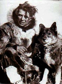 Leonhard Seppala with Togo, ca. 1920-25 - Seppala was a Norwegian musher and Togo was one of his most treasured dogs. Originally not destined to be a sled dog at all, Togo would escape his kennel to follow Seppala's runs, until Seppala had no choice but to put Togo in a harness. Once there, Togo proved his worth and became lead dog. In 1925, Togo successfully led Seppala's team across dangerous Norton Sound to relay antitoxin to the city of Nome, AK in hopes of preventing an diphtheria…