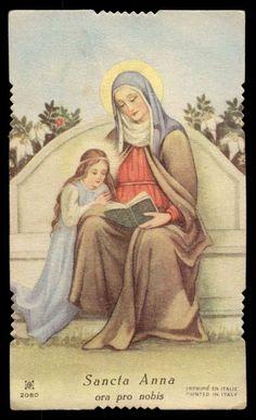 ST ANNE & VIRGIN MARY Vtg HOLY CARD