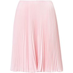 PLEATED SKIRT (£865) ❤ liked on Polyvore featuring skirts, pink pleated skirt, knee length pleated skirt, pleated skirt and pink skirt