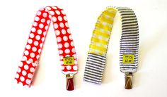 TUTORIAL: Pacifier Clips   MADE How amazingly cute are these!? I'm thinking personalizing these with baby's name and coordinating burp cloths would be an awesome gift! Now I just need time ;)