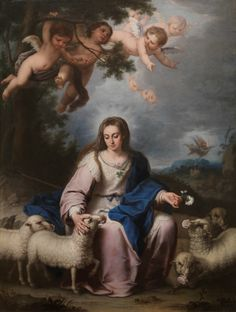 The Virgin as a Shepherdess / La Divina Pastora // Ca. 1732 // This canvas depicts an uncommon manifestation of the Virgin Mary that became popular in eighteenth-century Andalusia. She is seated on a rock surrounded by her flock, holding a rose in her left hand and stroking one of the sheep, which has another rose in its mouth. Above her are angels among the clouds, while in the background the Archangel Michael descends with his sword to rescue a sheep from a wolf.