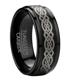 Men's 9mm Comfort Fit Flat Profile Black Tungsten Wedding Ring with Silver Tone Celtic Knot Design and Polished Step Down Edges, http://www.amazon.com/dp/B00G3L5GC2/ref=cm_sw_r_pi_awdm_5Deutb07XTHN5