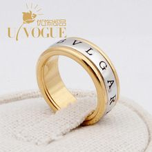 New UVOGUE Brand Jewelry Wholesale18K Real Gold Plated Punk Style Wide Gross Vintage Alphabet Wedding Engagement Women Rings