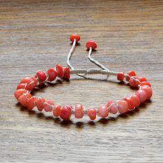String bracelet for women, Pink Coral bracelet, Braided bracelet, Summer bracelet, Gift for women, Beaded bracelet, Bead bracelet for women Jewelry Dish, Jewelry Shop, Jewelry Making, Coral Bracelet, Summer Bracelets, Braided Bracelets, Gift Bags, Gifts For Women, Beads