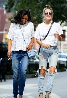 Fall 2015 Street Style From New York Fashion Week - White tops + baggy distressed denim | @StyleCaster. Loving white shirts and denim!