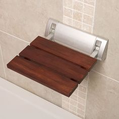 Stylish Sapele Folding Shower Seat With Crome Hinges & Wide Base - x - Solid Wood Bath Accessory - Wall Mounted - Fold Down Luxury Spa Bench Shower Chair, Shower Seat, Shower Stalls, Shower Base With Seat, Bathroom Seat, Shower Bathroom, Contemporary Shower, Bath Seats, Hudson Reed