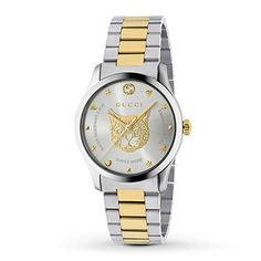 Gucci G-Timeless Watch Two Tone Yellow Gold Feline at price: Stainless steel case with a two-tone (silver-tone and gold-tone PVD) hardened steel arm jewele Gucci Bracelet, Bracelets, Bracelet Watch, Gucci Watches For Men, Gucci Men, Guccio Gucci, Stainless Steel Watch, Stainless Steel Bracelet, Apple Watch Bands
