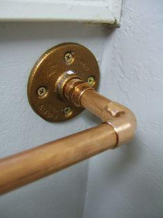 Copper Towel Rod via Nine Red: Downstairs Bathroom Update