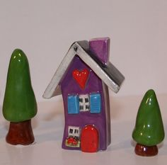 Clay House in Purple with Red front door by HeartHomes on Etsy, $22.00