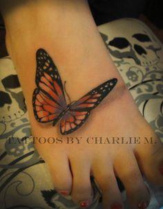 3D New Butterfly Tattoo For Women On Foot | Tattooshunt.