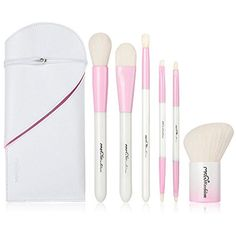 MSQ Makeup Brush Set 6pcs Professional Cosmetic Brushes with Makeup bag, Double Ended Soft Synthetic Hair for Foundation, Powder, Blush, Eyeshadow,Lip - Pink  #MakeupBrushSetsKits
