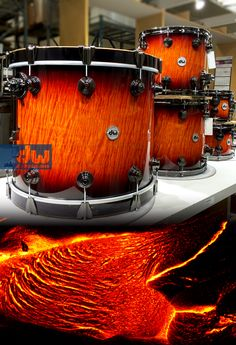 Amber Stain to Candy Black Lacquer over Quirly Maple. #dwdrums #thedrummerschoice