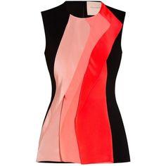 Roksanda  Torsten Top ($366) ❤ liked on Polyvore featuring tops, roksanda, colorblock top, color block tops, fitted tops and roksanda top