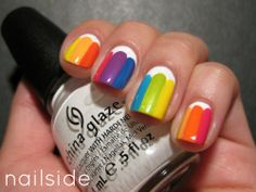 Nailside: 31 Day Challenge, day 9: Rainbow  (do this but do white triangle over rainbow)
