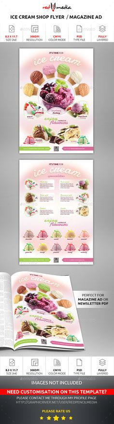 #Ice #Cream Shop Flyer / Magazine AD - Restaurant Flyers Download here:https://graphicriver.net/item/ice-cream-shop-flyer-magazine-ad/15212869?ref=carlyalexa