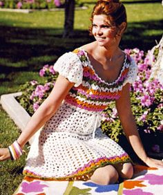 Estrella Peasant Dress crochet pattern from Afghan and Fashion Collection, originally published by Columbia Minerva, Book No. 776.