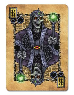 Grimoire Playing Cards Necromancy - King of Spades | more here: http://playingcardcollector.net/2014/10/21/grimoire-playing-cards-1-by-edgy-brothers/