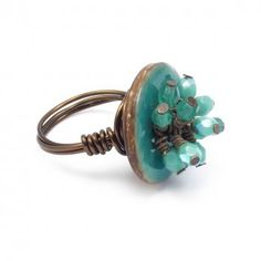 Small Button Wire Ring Kit with Czech Glass Turquoise Beads