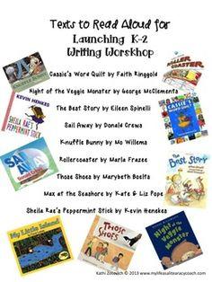 FREE: LIST OF READ ALOUD TEXTS FOR LAUNCHING K-2 WRITING WORKSHOP - TeachersPayTeachers.com
