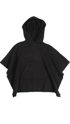 Kids Black Cool Trendy Fleece Poncho Black