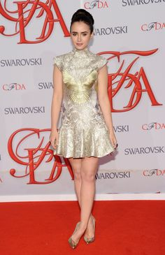Lily Collins in Marchesa