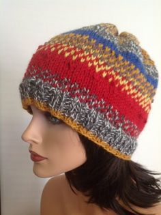 Hand Knit Wool Hat Beanie Cap Beret Multicolor by HANDKNITS2LOVE, $42.00