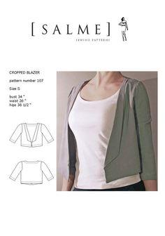 Cropped blazer pattern by Salme
