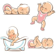 Cute babies in pink clothes. - Illustration vectorielle