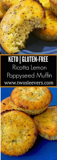 Gluten-free Keto Ricotta Lemon Poppyseed Muffins ,Gluten-free Keto Ricotta Lemon Poppyseed Muffins that can be whipped together in one bowl. Low carb and kid-friendly, and super moist and light. %SITENAME5