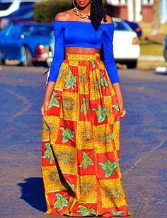IYAYAH High Waist Maxi Skirt in African Print Real Dutch by IYAYAH, $105.00