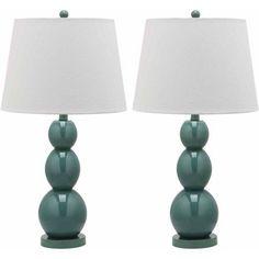 Safavieh Jayne 3 Sphere Glass Lamp with CFL Bulb, Multiple Colors, Set of 2, Blue