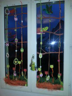 décor fenêtre printemps ,pâques