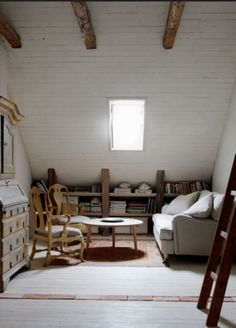 Check out the painted ceiling boards v. the unfinished ones - attic space?