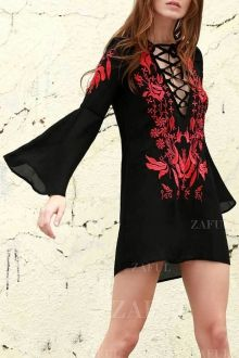 Floral Embroidered Plunging Neck Long Sleeve Dress