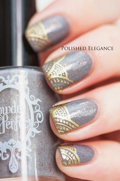 #nail #paint #polish #grey #gold #design