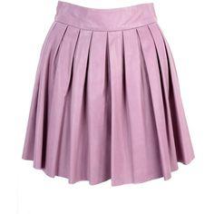 alice + olivia Box Pleat Leather Skirt found on Polyvore