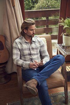 Explore our men's new arrivals collection of premium denim jeans, accessories and apparel. Male Fairy, Cowboy Up, Cowboy Boots, Cowboys Men, Grey Shirt, Gentleman Style, Beautiful Men, Sexy Men, Long Sleeve Shirts