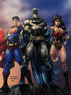 DC Comics:Superman, Batman, and Wonder Woman Arte Dc Comics, Dc Comics Art, Batman Vs Superman, Jim Lee Art, Dc Trinity, Super Heroine, Batman Wonder Woman, Wonder Women, Univers Dc