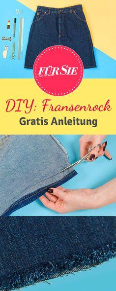 Wir zeigen Euch Schritt für Schritt, wie Ihr einen Jeansrock mit Fransen und Patches ganz einfach selber machen könnt!