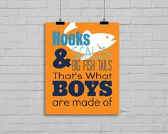 Welcome to Simply Love Creations!    Hooks, Scales & Big Fish Tails Print. For your home, Playroom, childs room, Nursery, anywhere!