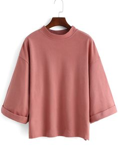 Pink+Stand+Collar+Loose+Casual+T-Shirt+17.18