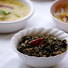Ponnganti Kobbari Fry - A healthy South Indian stir fry made with dwarf copperleaf and dry coconut.